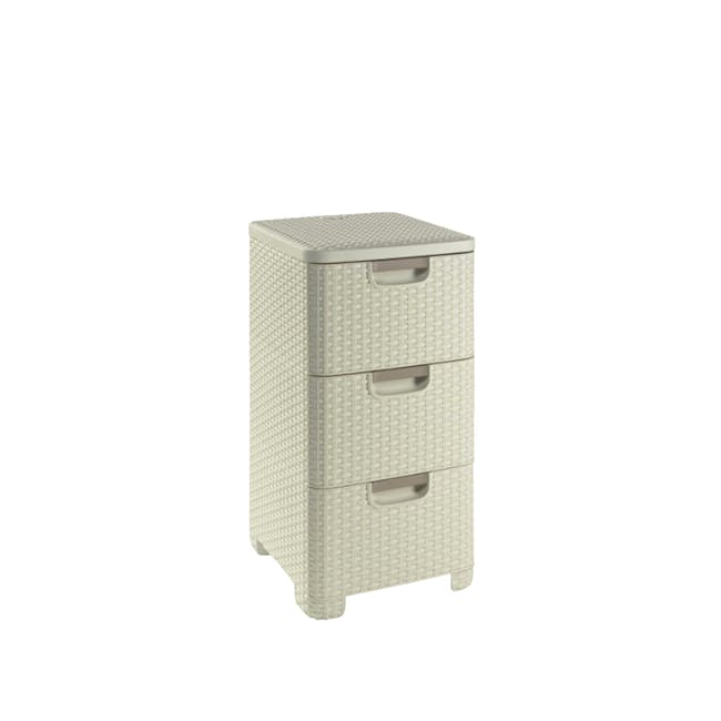 Rattan Style Drawer 3 - Off White - 0