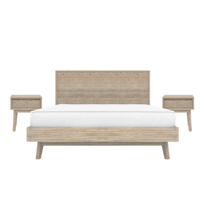 Leland Queen Bed with 2 Leland Single Drawer Bedside Tables - Image 1