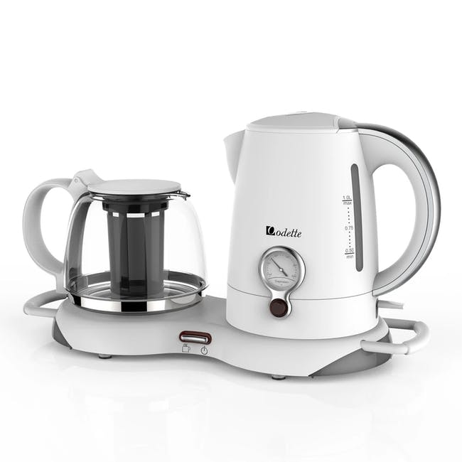 Odette Electric Kettle with Keep Warm Tea Tray 1.0L - White - 0