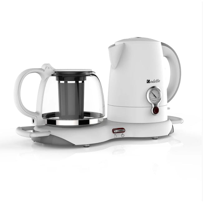 Odette Electric Kettle with Keep Warm Tea Tray 1.0L - White - 2