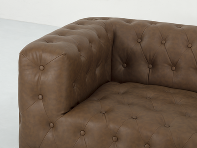 Alexander 3 Seater Sofa - Mocha (Faux Leather) - Image 2