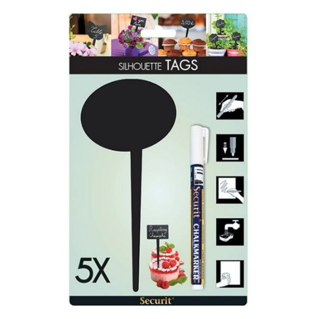 Securit Bubble Chalkboard Tags (Set Of 5) - 4