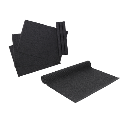 Rectangular Cotton Placemats (Set of 6) with Rectangular Cotton Table Runner - Dark Grey - Image 1