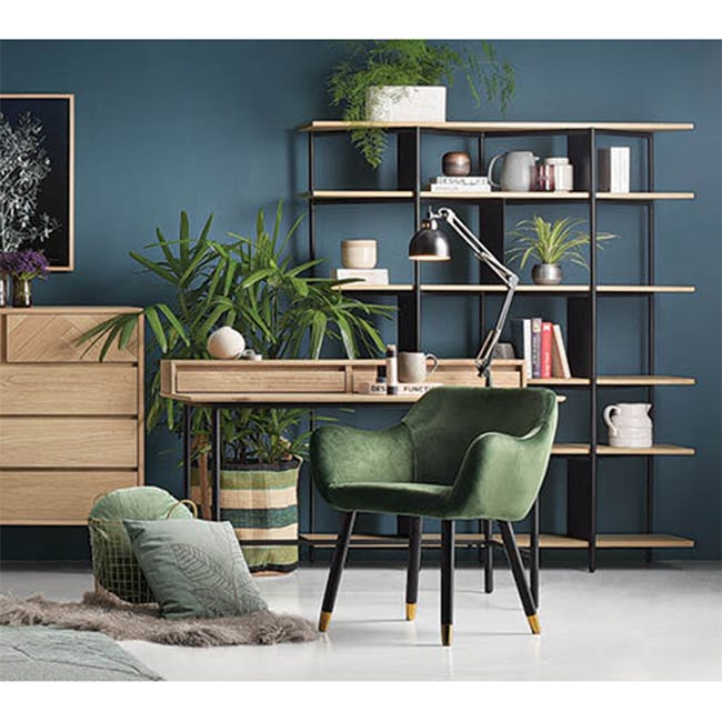 Aubree Dining Armchair - Olive Green (Velvet) - 1