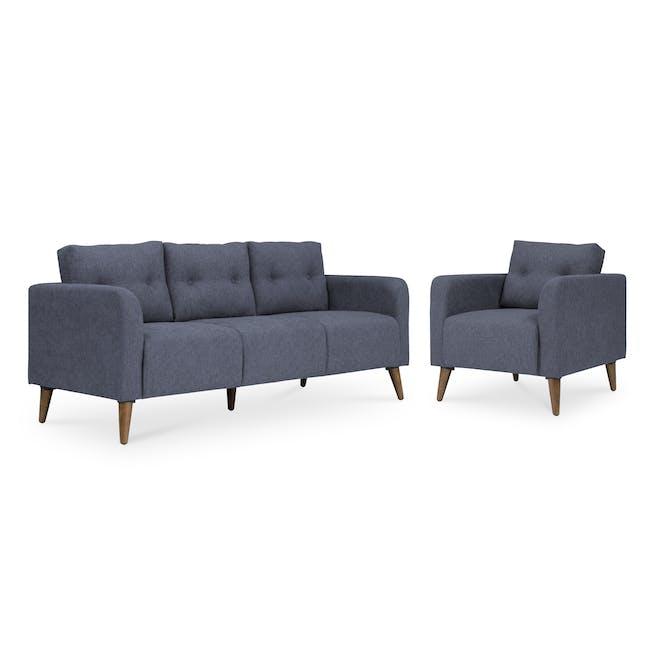 Bennett 3 Seater Sofa with Bennett Armchair - Midnight - 0