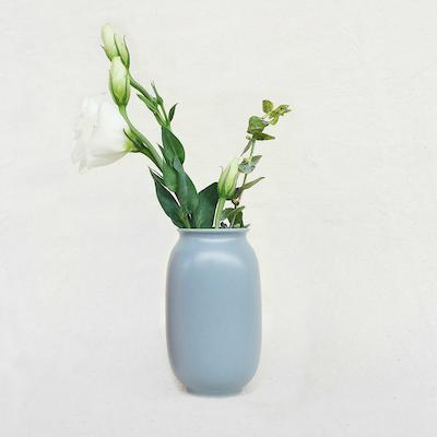 Nordic Matte Vase Short Cylinder - Blue Grey