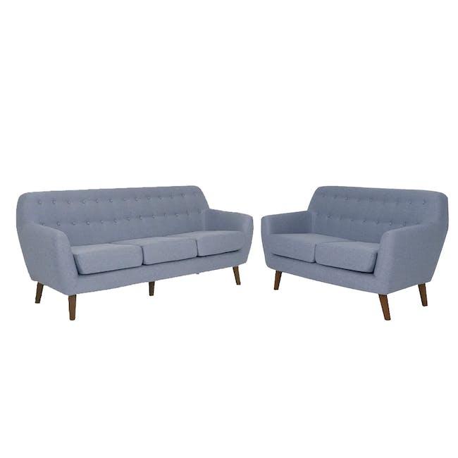 Emma 3 Seater Sofa with Emma 2 Seater Sofa - Dusk Blue - 0