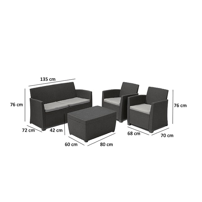 Corona Lounge Set with Storage Coffee Table - Graphite - 4