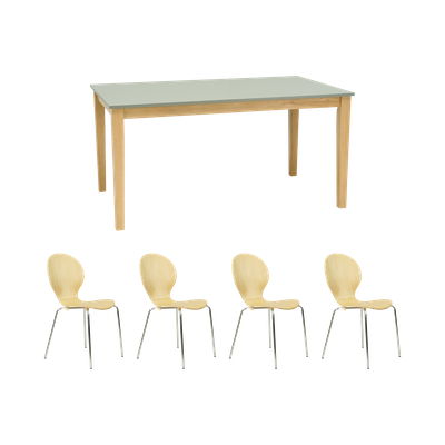 Darcy Dining Table 1.5m with 4 Mizuki Dining Chairs - Image 1