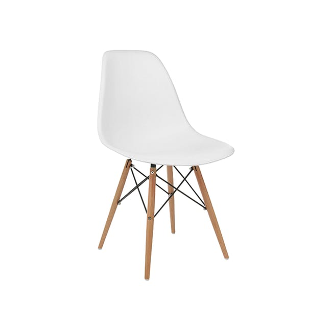 Harold Round Dining Table 1m with 4 DSW Chairs - White - 6