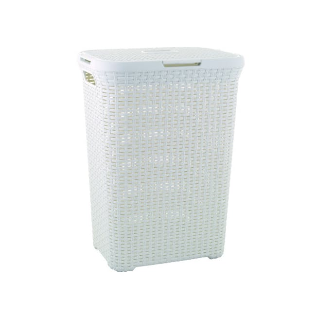Rattan Style Rectangular Hamper with Lid - Off White - 0