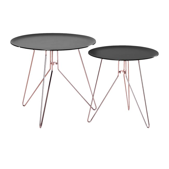 Oba Coffee Table (Set of 2) - Black Acrylic, Copper - 0