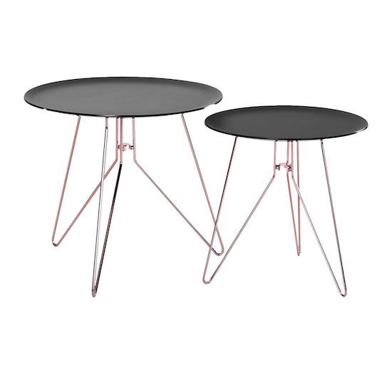 Oba Coffee Table Set Of 2 Black Acrylic Copper Paris By Hipvan Hipvan