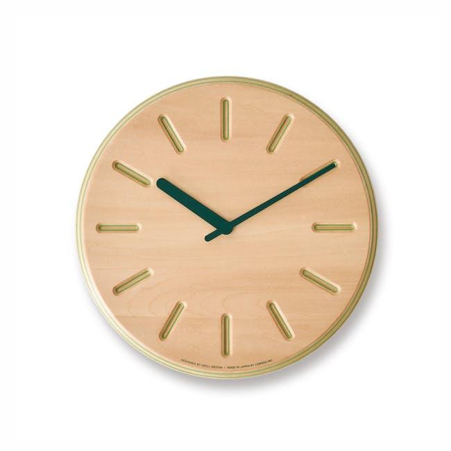 Line Paper-Wood Clock - Green - 0