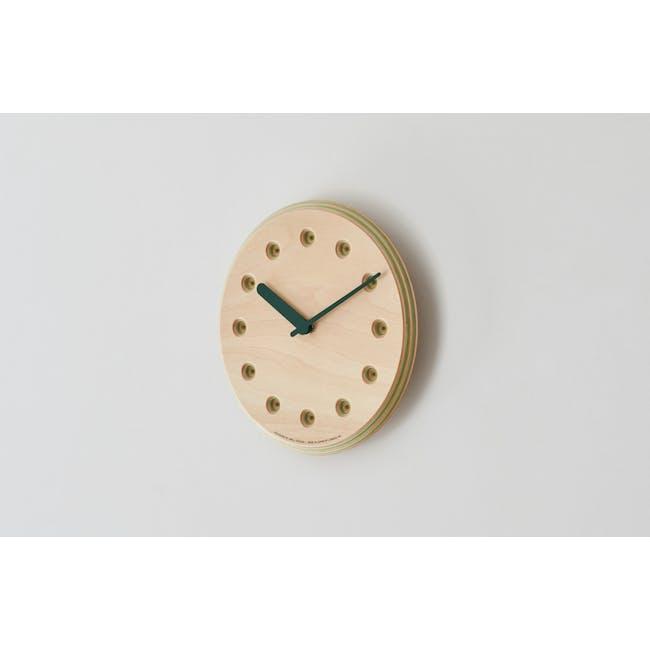 Line Paper-Wood Clock - Green - 3