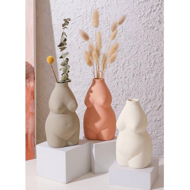 Female Sculpture Body Art  Ceramic Vase - Ivory - 4