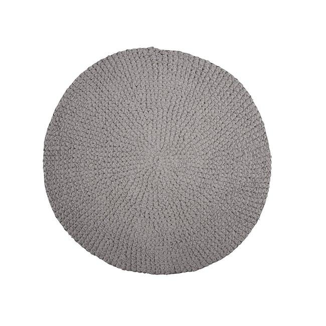 Crochet Woven Round Rug 0.8m - Grey - 0