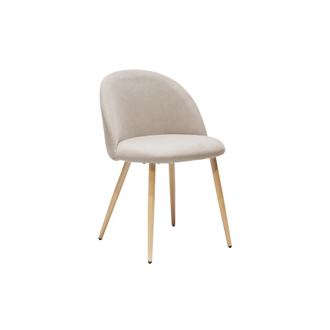 Irma Extendable Table 1.6m with 4 Chloe Dining Chairs in Wheat Beige and Pale Grey - 17
