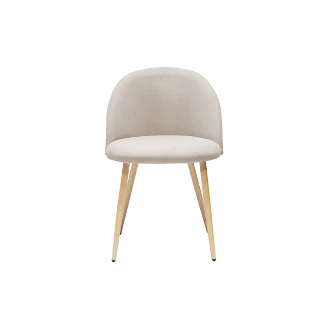 Irma Extendable Table 1.6m with 4 Chloe Dining Chairs in Wheat Beige and Pale Grey - 18