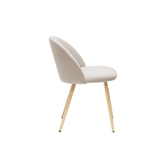 Irma Extendable Table 1.6m with 4 Chloe Dining Chairs in Wheat Beige and Pale Grey - 9
