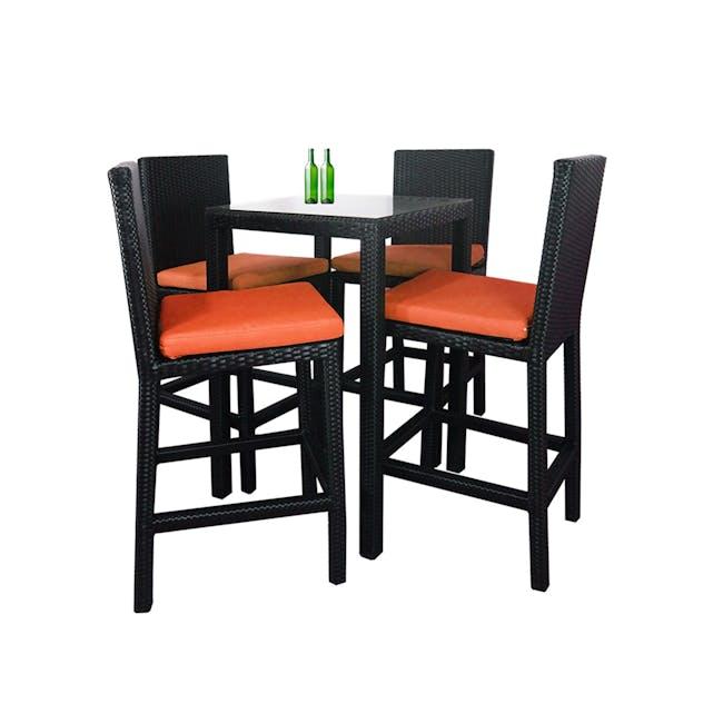 Midas 4 Chair Bar Set - Orange Cushion - 0