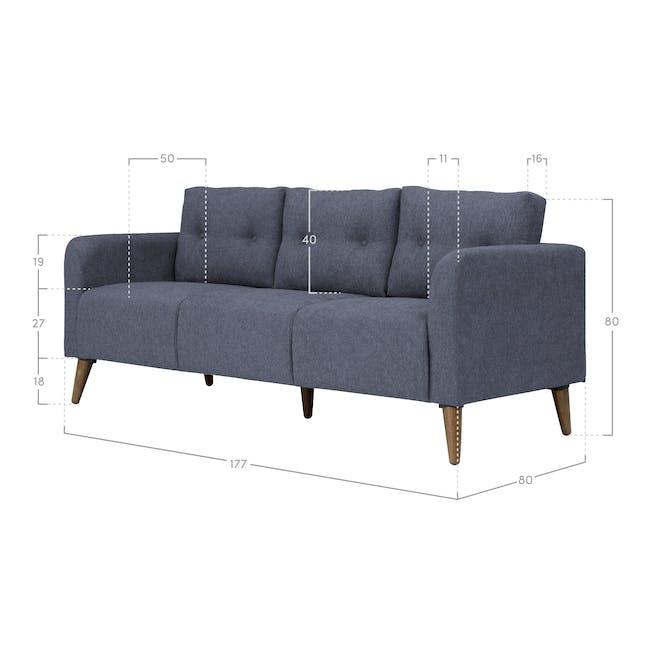 Bennett 3 Seater Sofa - Midnight - 5