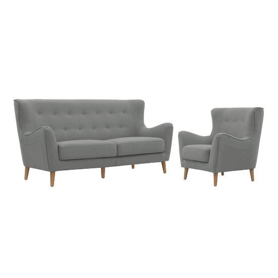 Jacob 3 Seater Sofa with Jacob Armchair - Slate