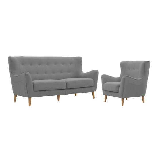 Jacob 3 Seater Sofa with Jacob Armchair - Slate, HipVan Bundles ...