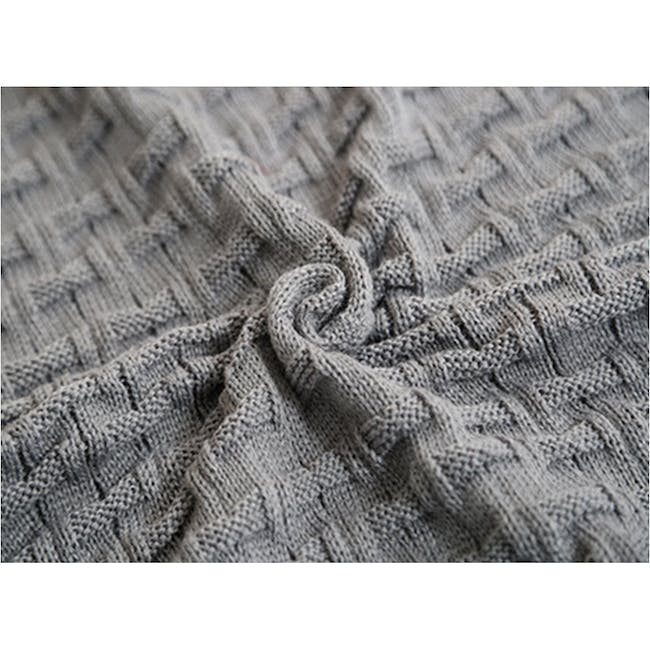 Camille Knitted Throw Blanket 110 x 175 cm - Grey - 2