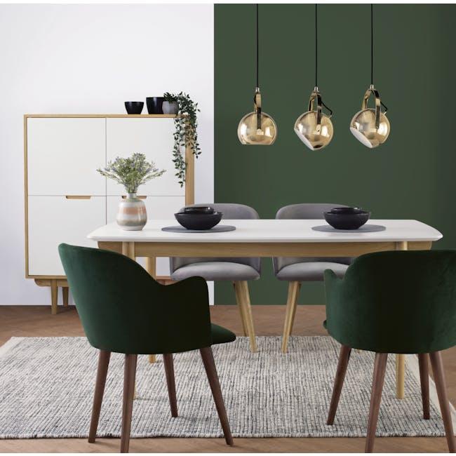Anneli Dining Armchair - Oak, Grey (Velvet) - 1