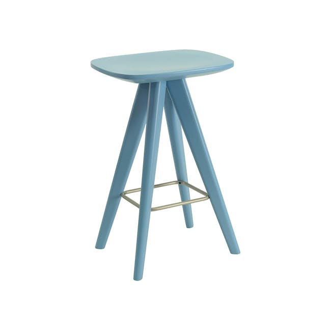 (As-is) Freya Counter Stool - Dust Blue Lacquered - 9 - 17
