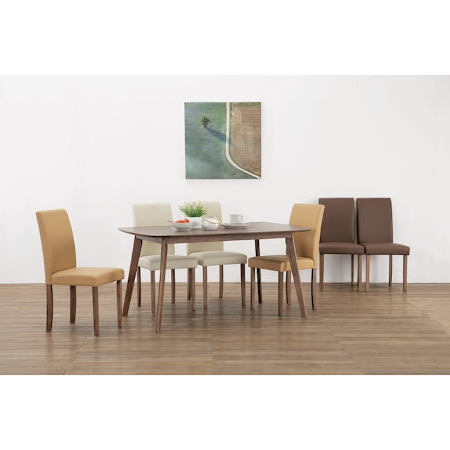 Charmant Dining Table 1.4m in Walnut with 4 Dahlia Dining Chairs in Caramel - 11