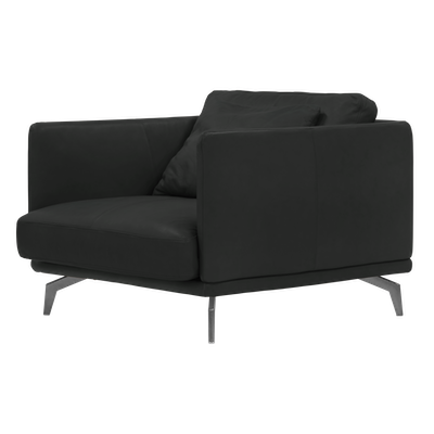 Como 1.5 Seater Sofa - Black (Genuine Cowhide) - Image 2