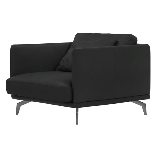 Como 1 5 Seater Sofa Black Genuine Cowhide Down Feathers