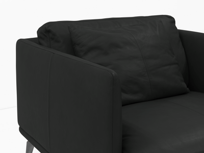 Como 1.5 Seater Sofa - Black (Genuine Cowhide), Down Feathers - Image 2