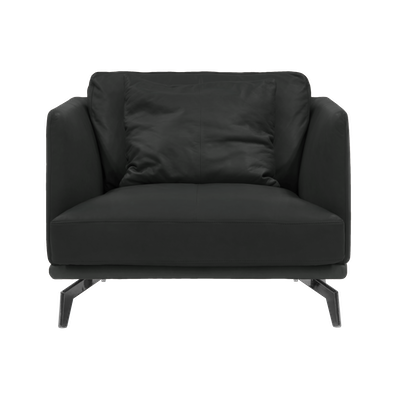 Como 1.5 Seater Sofa - Black (Genuine Cowhide), Down Feathers - Image 1