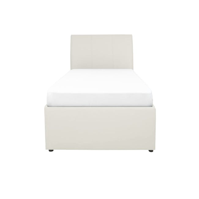 ESSENTIALS Super Single Trundle Bed - White (Faux Leather) - 0