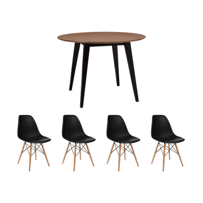 Ralph Round Dining Table Ø1m with 4 DSW Chairs - Black - Image 1