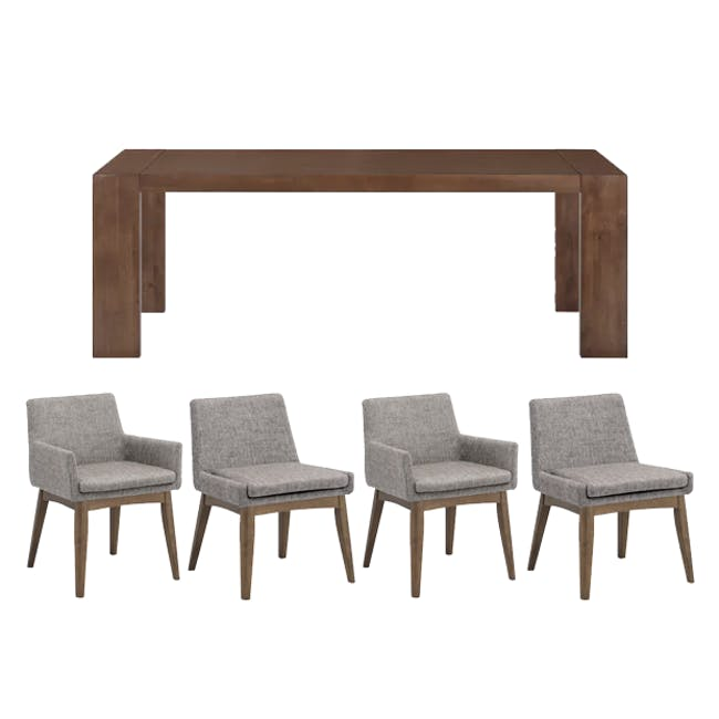 Clarkson Dining Table 2.2m in Cocoa with 4 Fabian Chairs in Cocoa, Dolphin Grey - 0