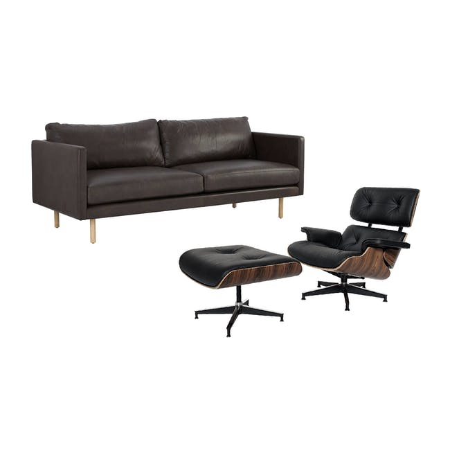 Rexton 3 Seater Sofa in Mocha with Eames Lounge Chair and Ottoman - 0
