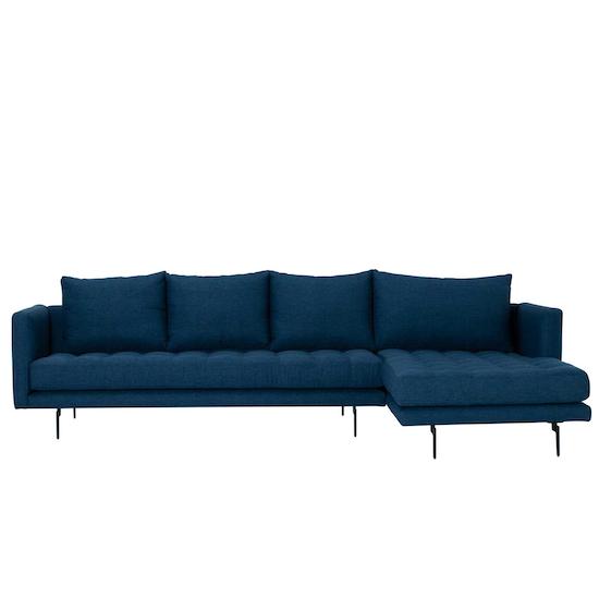 Nubira L Shaped Sofa Midnight Blue