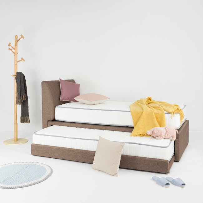 ESSENTIALS Super Single Trundle Bed - White (Faux Leather) - 11