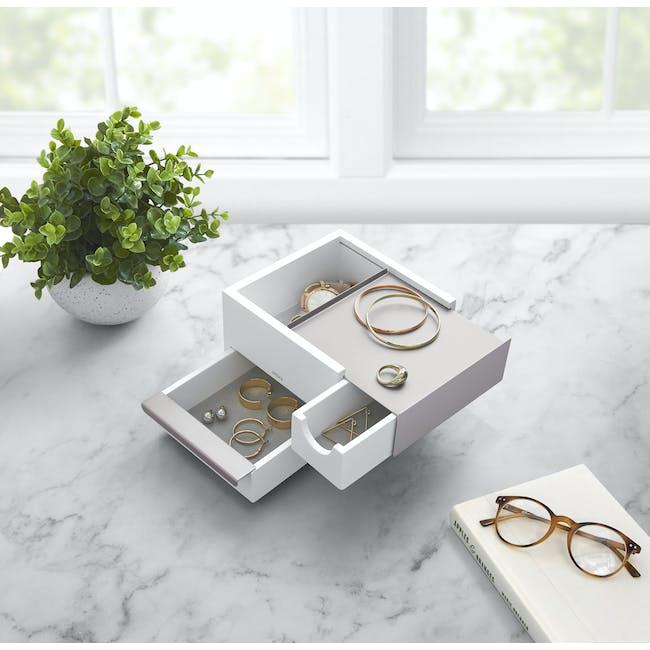 Mini Stowit Storage Box - White, Nickel - 1