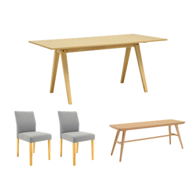 Varden Dining Table 1.7m with Marrim Bench and 2 Ladee Dining Chairs - Natural - Image 1