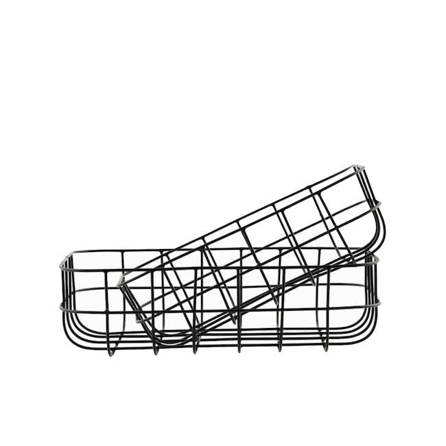 Diana Low Wire Basket - Black (Set of 2) - 0