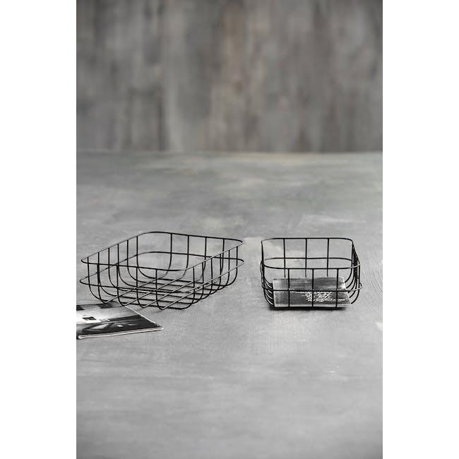 Diana Low Wire Basket - Black (Set of 2) - 1