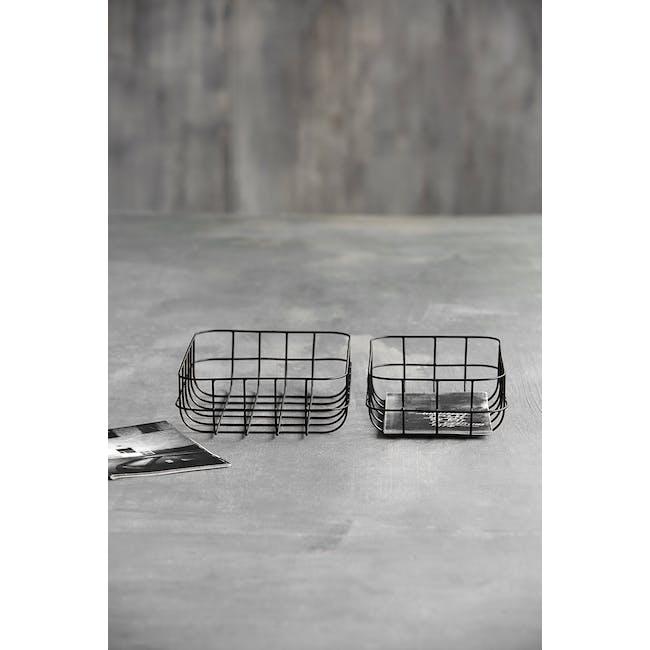 Diana Low Wire Basket - Black (Set of 2) - 2