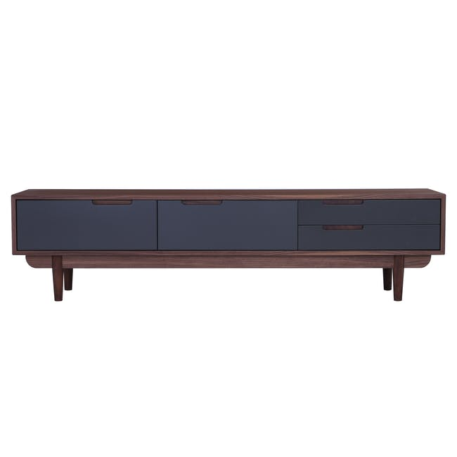 Larisa TV Console 1.8m with Bacchus Twin Drawer Coffee Table - Grey, Walnut - 1