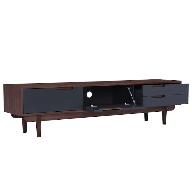 Larisa TV Console 1.8m with Bacchus Twin Drawer Coffee Table - Grey, Walnut - 2