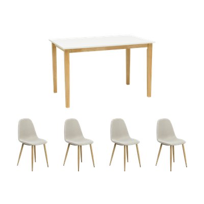 Paco Dining Table 1.2m with 4 Fynn Dining Chairs - Natural, White - Image 1